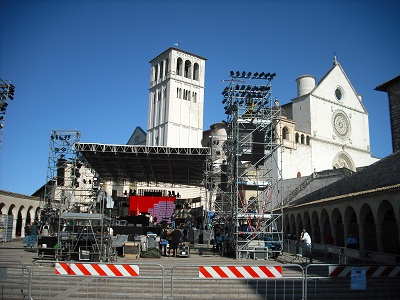 pic of stage for Andrea Bocelli in Assisi