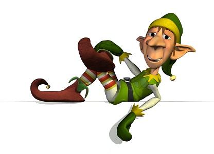 Santa's Elf on Sign Edge