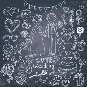 bigstock-Vintage-wedding-set-in-cartoon-50032106