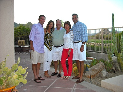 """Fun photo taken in Phoenix, Arizona, from left to right are: Dear friends Mark and Michelle Wheeler, Father Nick, and Yours Truly with my handsome hubster, John."""