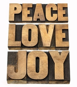 peace, love and joy word abstract - a collage of isolated text i