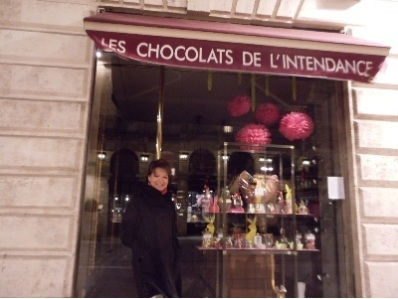 front of chocolate store