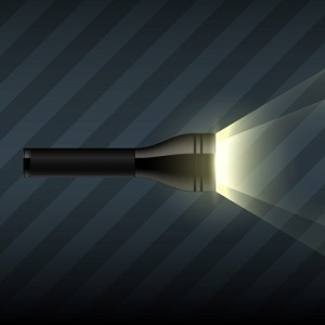 Vector flashlight on dark striped background
