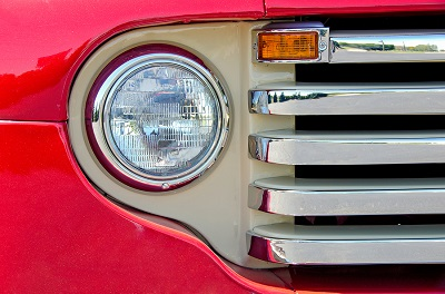 retro red truck headlight