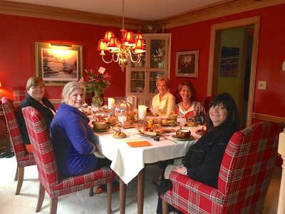 Pictured here in Bob and Judy's dining room, are our friends, a/k/a The Butter Babes.  Fay's  at the head of the table.  To her left is Bonnie, Nancy, Judy and Elizabeth.)