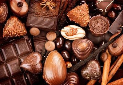 Chocolates background. Chocolate. Assortment of fine chocolates