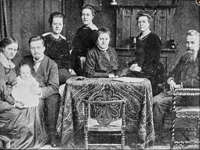 From Left to Right: Tine (wife of Willem), Baby Kik, Willem, Nollie, Corrie, Cornelia, Betsie and Casper Ten Boom