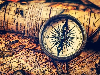 Travel geography navigation concept background - vintage retro e
