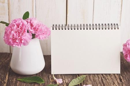 Blank Desk Calendar With Pink Carnation Flower